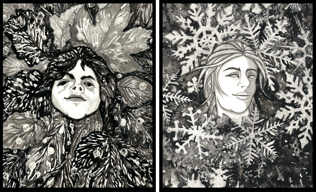 <Ink Painting by Nina Spiess: GODS OF THE FOUR SEASONS>